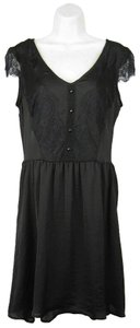 Eyeshadow short dress Black Skater Lace V-neck Sleeveless Side Zipper on Tradesy