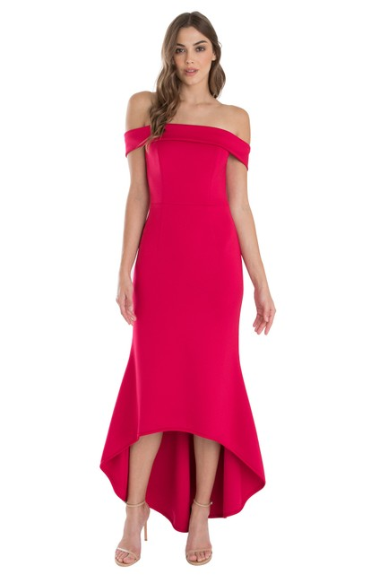 Item - Red Leta Gown Eve By Laurel Berman Mid-length Cocktail Dress Size 14 (L)