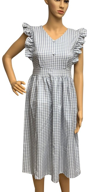 Item - Gray Gingham Ruffle Mid-length Short Casual Dress Size 4 (S)