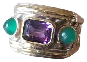 David Yurman David Yurman Renaissance Ring With Amethyst And Green Onyx
