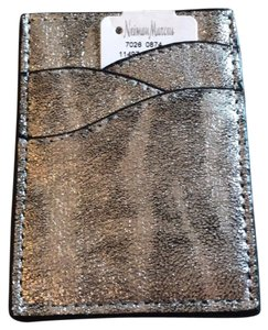 Neiman Marcus Silver Metallic Leather Credit Card Holder