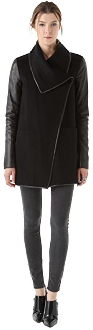 Item - Black Wool with Leather Sleeves Coat Size 2 (XS)