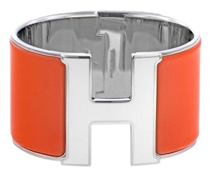 Hermès Hermès Extra Wide Orange and White Clic Clac Bracelet
