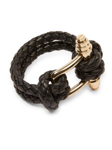 Givenchy Givenchy Black Women's Black Obsedia Braided Leather Bracelet Gold HW