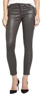 AG Adriano Goldschmied Vegan Faux Leather Grey Metallic Skinny Jeans-Coated