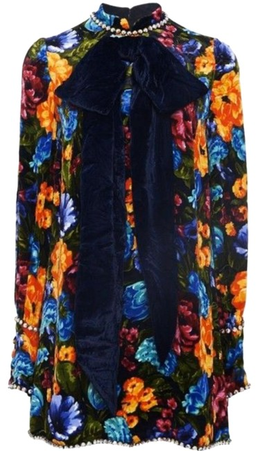 Item - Multi Colored Velvet Floral Embellished with Bow and Rhinestone Crystals Short Casual Dress Size 2 (XS)