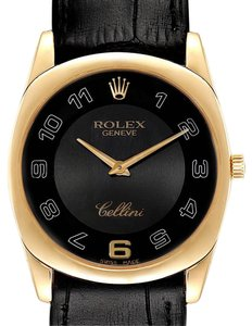 Rolex Rolex Cellini Danaos Yellow Gold Black Dial Mens Watch 4233 Papers