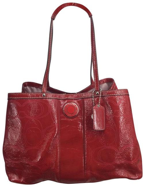 Item - Carryall Signature Stitched F19125 Red Patent Leather Tote