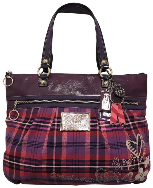 Item - Poppy Tartan Glamour 15886 Patent Leather Purple Pink Multi Silver Canvas Tote