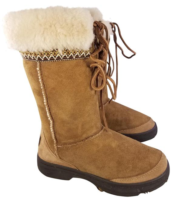 Item - Brown Shearling Sheepskin Woman Embroidery Leather Boots/Booties Size US 5 Regular (M, B)