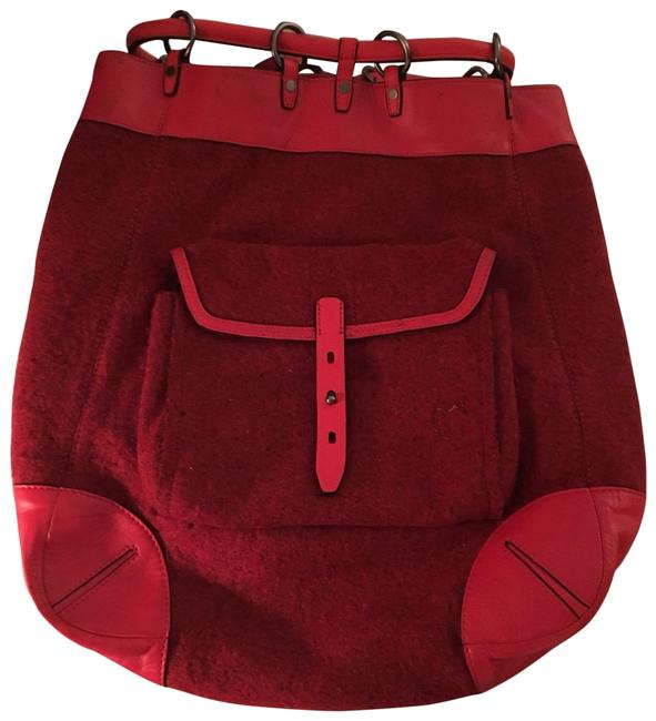 Item - Grayson Dark Red Wool and Leather Backpack