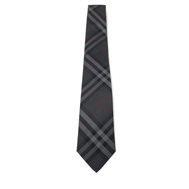 Item - Gray Silk Check Print Tie