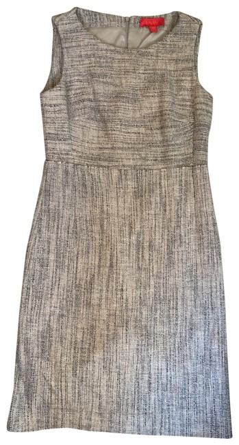 Item - Gray And Navy Tweed Shift Mid-length Work/Office Dress Size 4 (S)