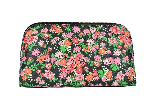 Item - Pink Pouch Flower Floral Cluster Domed Cosmetic Bag