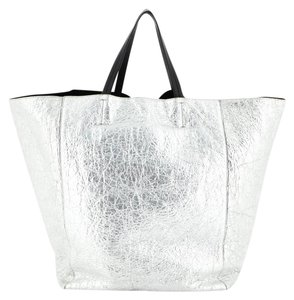 Celine Leather Tote in Metallic, Silver