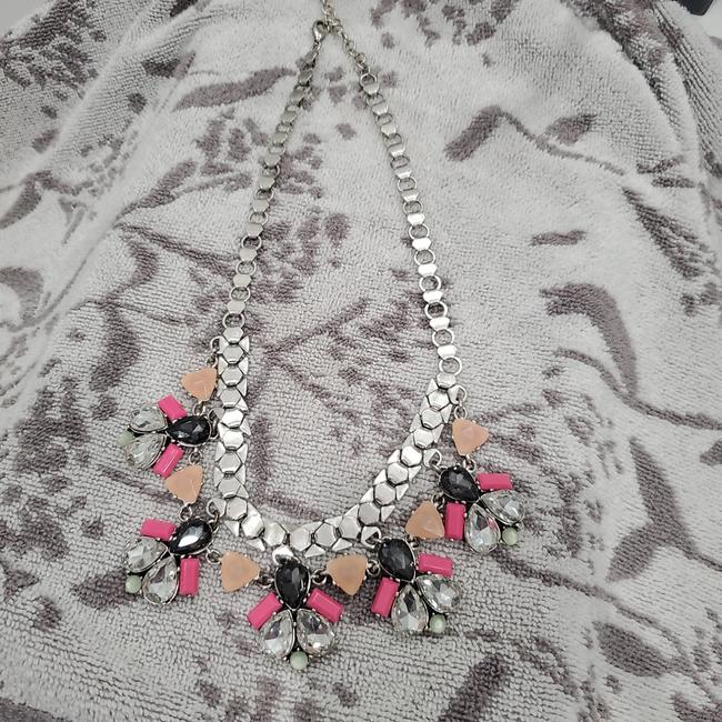 Item - Dark Gray Beige Hot Pink and Crystals Necklace