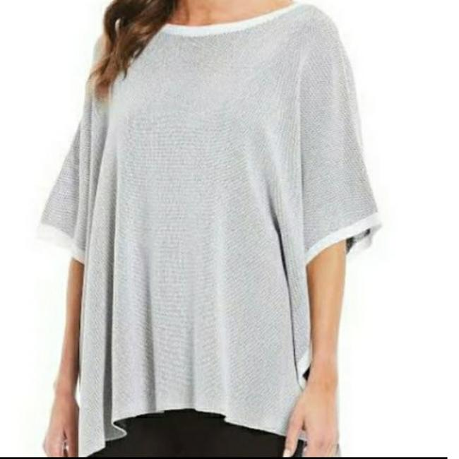 Item - Gray Neutral Silk Blend Tie Knit Sweater New O/S Poncho/Cape Size OS (one size)