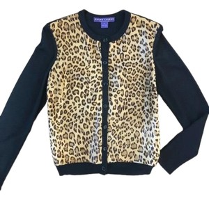 Ralph Lauren Collection Calf Hair Leopard Print Leather Blouson Sweater