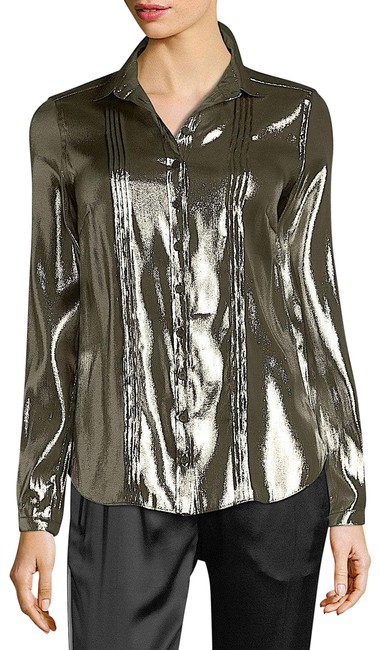 Item - Gold with Tag Metallic Lamé Blouse Button-down Top Size 10 (M)