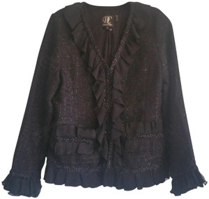 Dolce Cabo Ruffled Trim Bell Long Sleeves Round Ruffled Neck Metallic Glitter Pockets Black Blazer