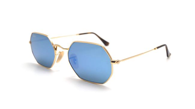 Ray-Ban Gold New Rb3556n Octagonal Blue Gradient Flash Lens Sunglasses Ray-Ban Gold New Rb3556n Octagonal Blue Gradient Flash Lens Sunglasses Image 1