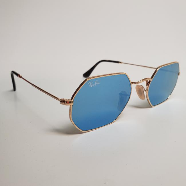 Ray-Ban Gold New Rb3556n Octagonal Blue Gradient Flash Lens Sunglasses Ray-Ban Gold New Rb3556n Octagonal Blue Gradient Flash Lens Sunglasses Image 2