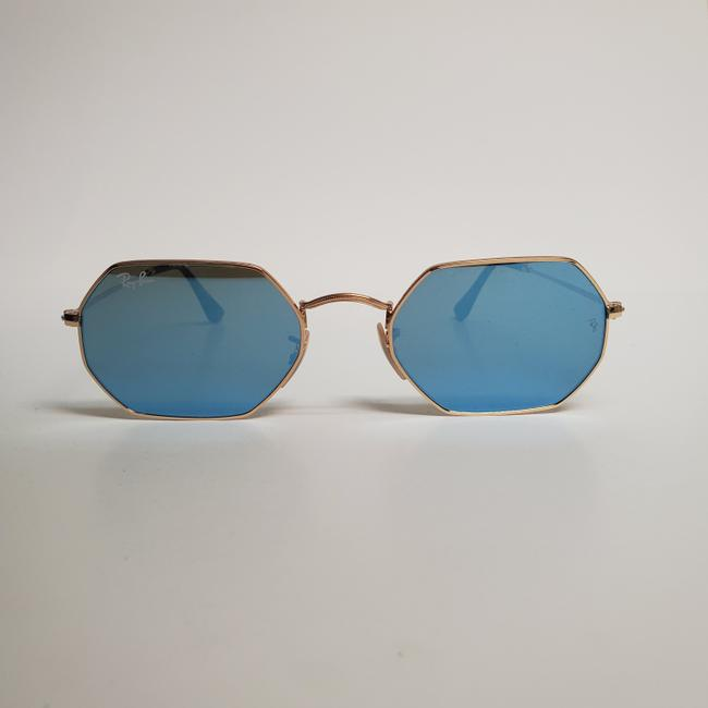 Ray-Ban Gold New Rb3556n Octagonal Blue Gradient Flash Lens Sunglasses Ray-Ban Gold New Rb3556n Octagonal Blue Gradient Flash Lens Sunglasses Image 3