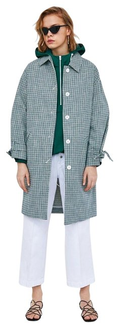 Item - Green and Blue Checked with Bows Coat Size 12 (L)