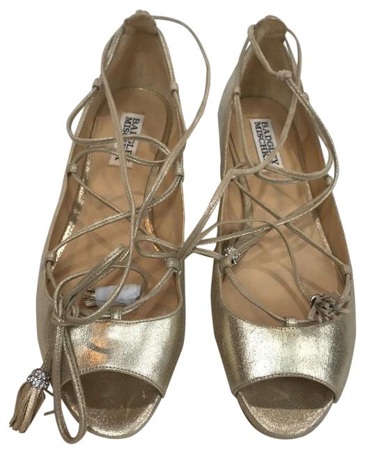 Item - Silver Gold Leather Ankle Strap Flat Sandals Size US 8 Regular (M, B)