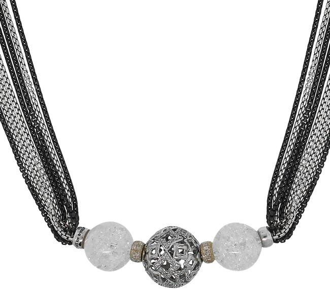 Item - Black Silver Sterling Multi Chain Long Necklace