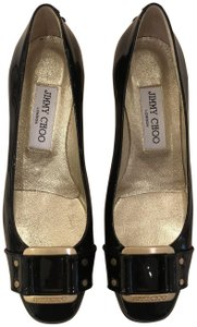 Jimmy Choo Patent Leather Gold Hardware Buckle black Flats