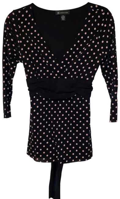 Item - Black with Light Pink 3/4 Sleeve Shirt Polka Dots Ties In Blouse Size 8 (M)