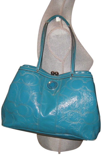 Item - Carryall Signature Stitch Frame (F15658) Green Patent Leather Tote