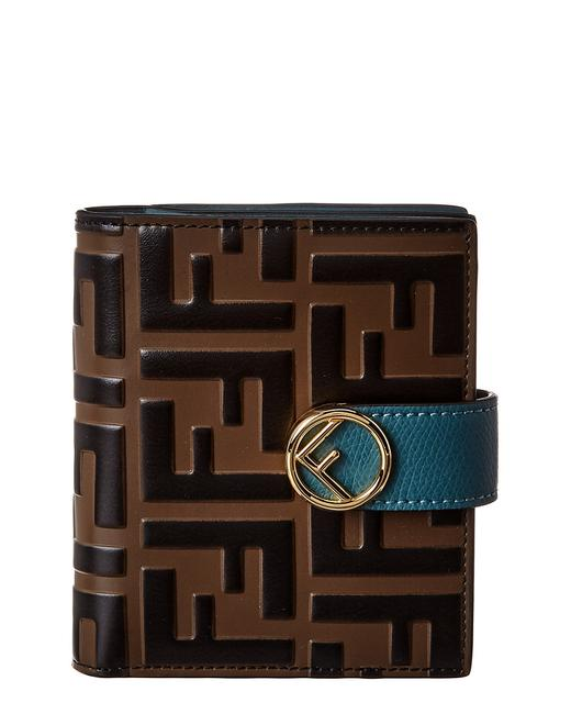 Item - Brown Double F Compact Leather Wallet
