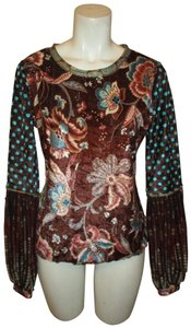 ANAC By Kimi Crushed Velvet Mesh Patchwork Night Out Onm001 Top brown multi