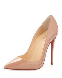 Christian Louboutin So Kate Patent Pointed Toe Red Sole Nude Pumps