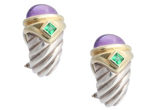 David Yurman STERLING and 14K YELLOW GOLD EMERALD AND AMETHYST RENAISSANCE PIERCED