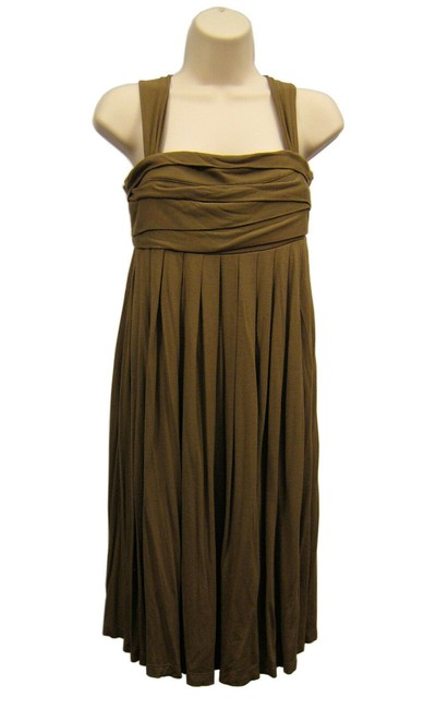 Item - Brown High Waist Pleated Sleeveless Shoulder Straps Long Formal Dress Size 8 (M)