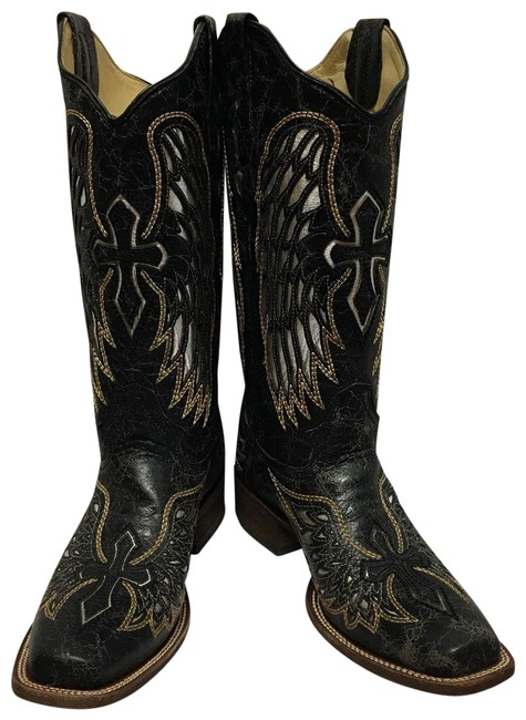 Item - Vintage Black/Gold/Silver Wing Cross Boots/Booties Size US 9 Regular (M, B)