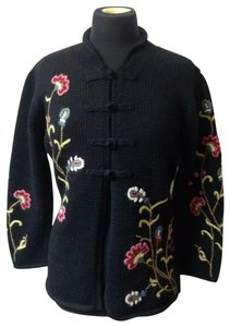 Indigenous Floral Embroidered Hand Knit Wool Boho Cardigan