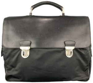 Prada Vintage Briefcase Nylon Leather Black Travel Bag
