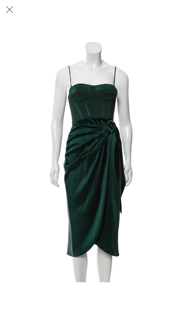 Item - Green Strapless Bustier Satin Mid-length Cocktail Dress Size 2 (XS)