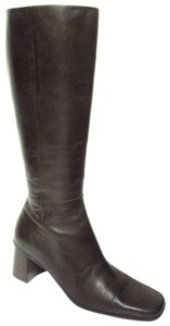 Caressa Knee High Leather Square Dark Brown Boots