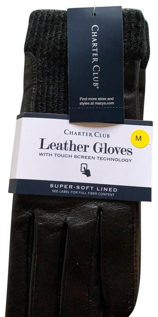 Item - Black Leather Gloves Touch Screen Technology