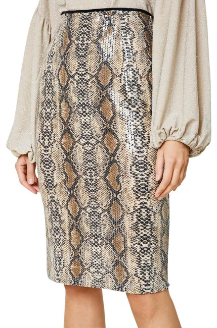 Item - Tan and Brown Sequin Snakeskin Pencil Skirt Size 6 (S, 28)