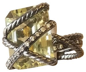 David Yurman David Yurman Lemon Citrine Diamond Darkened Cable Wrap Ring