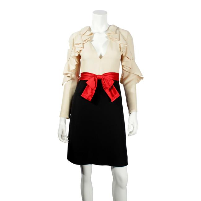 Item - Cream Ruffle & Black with Red Satin Bow Short Formal Dress Size 4 (S)
