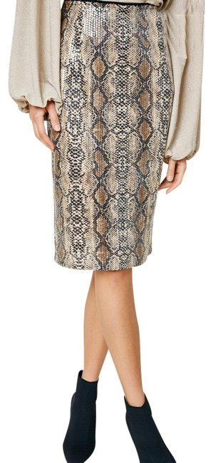 Item - Tan and Brown Sequin Snakeskin Pencil Skirt Size 14 (L, 34)