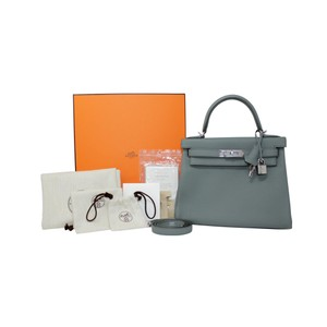 Hermes Leather Kelly Tote in Grey