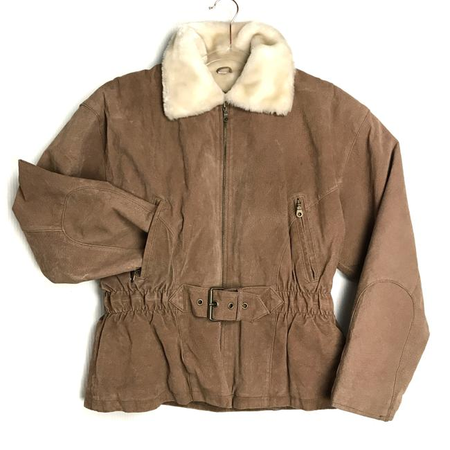 Item - Camel Brown Vintage Belted Suede Leather Faux Fur Collar Women Puffer Coat Size 12 (L)